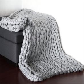 Fashion Handmade Knitted Wool Blanket, Size:100X200cm(Grey)