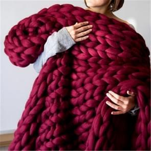 Mode handgemaakte gebreide wollen deken  grootte: 130X170cm (rood)