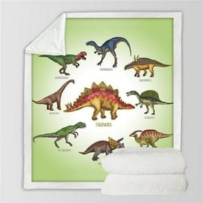 Dinosaur Family Blanket Cartoon Microfiber Jurassic Plush Sherpa Throw Blanket  for Kids, Size:130cmx150cm(Light Green)