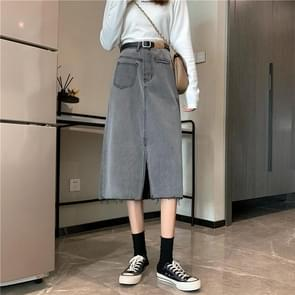 High-Waist Slit Mid-length Raw Denim Bag Hip Skirt  Maat: XL(Grijs)