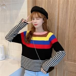 Loose Contrast Stripes Lazy Long-Sleeved Knitted Pullover Sweater  Size: Free Size(Black)