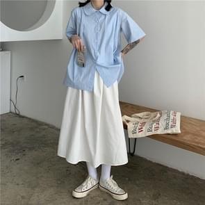 Hoge taille gordijnen rok los en dunne mid-length A-line rok  grootte: M (wit)