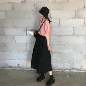 Hoge taille gordijnen rok los en dunne mid-length A-line rok  grootte: M (Zwart)