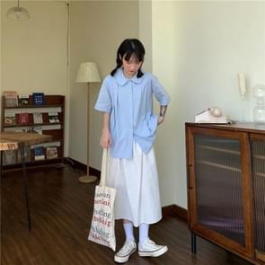 Hoge taille gordijnen rok los en dunne mid-length A-line rok  grootte: L (Wit)