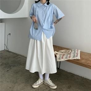 Hoge taille gordijnen rok los en dunne mid-length A-line rok  grootte: XL (Wit)