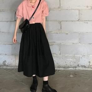 Hoge taille gordijnen rok los en dunne mid-length A-line rok  grootte: XL (Zwart)