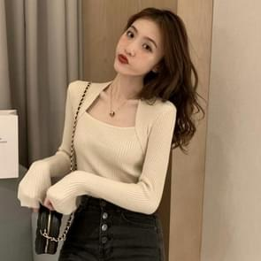 Square Collar Exposed Clavicle T-shirt Fake Two-Piece Gebreide lange mouwen Bottoming Shirt  Maat: Gratis maat (abrikoos)