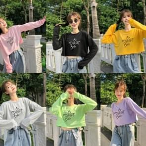 Vroege herfst vrouwen top losse t-shirt bottoming shirt brief korte sweatshirt  grootte: gratis maat (roze)