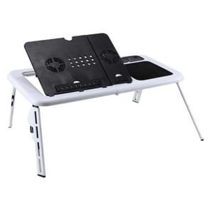 Portable Fold-able Adjustable High Laptop Desk  with Cooling Fan(White)