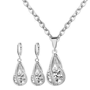 Water Drop Jewelry Sets 925 Sterling Silver Necklace Earrings Wedding Jewelry For Women Wedding Party Sets(Silver)