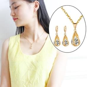 Water Drop Jewelry Sets 925 Sterling Silver Necklace Earrings Wedding Jewelry For Women Wedding Party Sets(Gold)