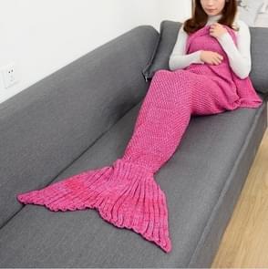 Zeemeermin staart deken voor volwassen super zachte slapen gebreide dekens, grootte: 140 X70cm (paars roze)