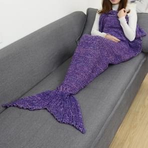 Zeemeermin staart deken voor volwassen super zacht slapen gebreide dekens  maat: 140 X70cm (violet)