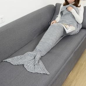 Zeemeermin staart deken voor volwassen super zachte slapen gebreide dekens, grootte: 180 X90cm (grijs)