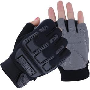 Kids Tactical Fingerless Gloves Anti-Skid Rubber Half Finger Children Gloves, Size:M(Black)