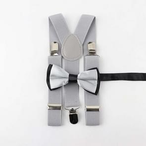 Children Adjustable Elastic Y Shape Strap Clip + Bow Tie Set, Size:65 x 2.5cm(Light Gray)