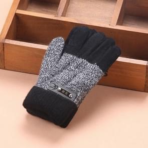 Kinderen warme gebreide handschoenen kinderen winter dikke volledige vinger handschoenen (zwart)