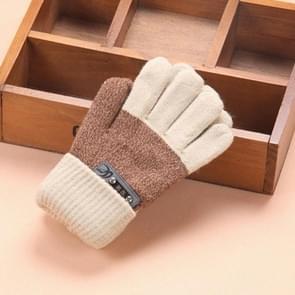 Kinderen warme gebreide handschoenen kinderen winter dikke volledige vinger handschoenen (beige)