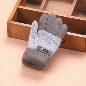 Kids Warm Knitted Gloves Children Winter Thick Full Finger Gloves(Dark Gray)