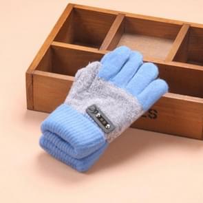 Kinderen warme gebreide handschoenen kinderen winter dikke volledige vinger handschoenen (hemelsblauw)