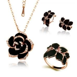 3 PCS/Set Fashion Camellia Black Enamel Ring Earrings and Necklace Jewelry Set(Gold)