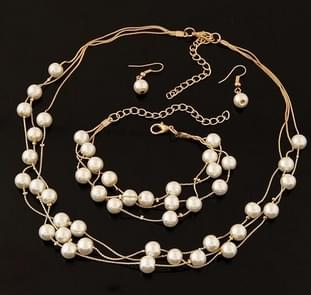 Pearl Multi-Layer Temperament Necklace Earring Bracelet set, Metal color:Gold