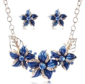 Crystal Enamel Flower Jewelry Sets For Women(Blue)