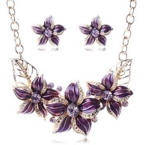 Crystal Enamel Flower Jewelry Sets For Women(Purple)