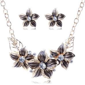 Crystal Enamel Flower Jewelry Sets For Women(Black)