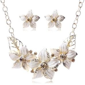 Crystal Enamel Flower Jewelry Sets For Women(White)