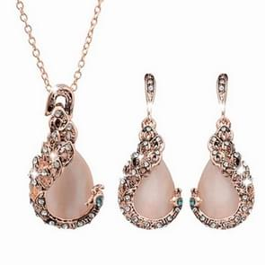Women Elegant Peacock Gemstone Waterdrop Rhinestone Pendant Necklace Earrings Jewelry Set