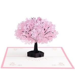 Driedimensionale Pink Cherry wenskaart (Enkele boom)