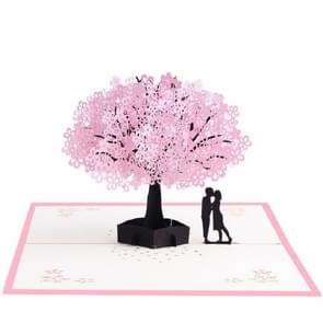 Driedimensionale Pink Cherry Wenskaart (Lovers)