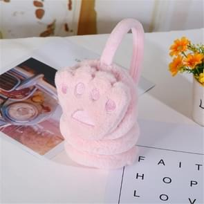 6 PC'S kinderen intrekbare schattige beer palm vormige pluche warme oorkappen oor beschermer (roze)