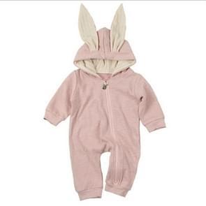 Spring and Autumn Babies Big Rabbit Ear Zipper Bodysuit, Size:59CM(Pink)