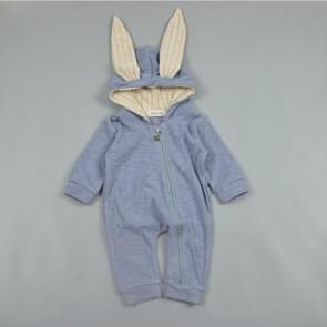 Spring and Autumn Babies Big Rabbit Ear Zipper Bodysuit, Size:90CM(Blue)