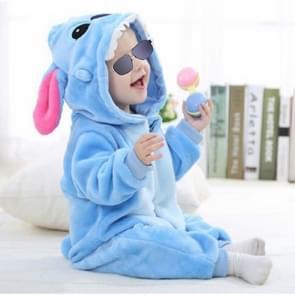 Babies Cartoon Animal Shape Flannel Jumpsuit Romper, Size:70CM(Blue Stitch)