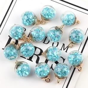 50pcs 16mm Colorful Transparent Glass Ball  Star Charms Pendant(Blue)