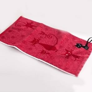 Schattig kitten patroon print katoen zachte kind-handdoek huishoudelijke gezicht handdoek cartoon kat katoen handdoeken  grootte: 33x73cm (donkerrood)