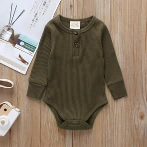 Autumn Baby Cotton Solid Color Long-sleeved Jumpsuit Romper, Size:90cm(Army Green)