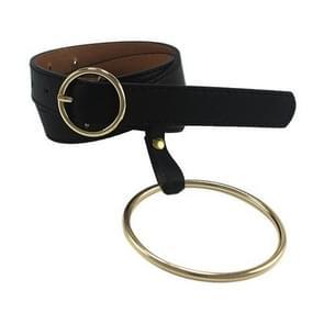 Vrouwen taille riem grote Ring ingericht riemen Gold Pin Buckle stevige PU lederen Strap(Gold buckle)