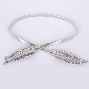 Leaf Shape Elastic Belts Stretch Skinny Waist Cummerbunds Metal Belt for Women, Belt Length:70cm(Silver)