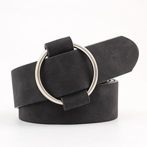 Casual Needleless Round Buckle Wide  PU Leather Belt for Women, Belt Length:103cm(Black)