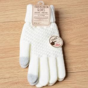 Winter Touch Screen Gloves Women Men Warm Stretch Knit Mittens Imitation Wool Thicken Full Finger Gloves(White)