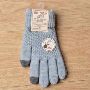 Winter touch screen handschoenen vrouwen mannen warme stretch gebreide wanten imitatie wol Thicken Full Finger handschoenen (grijs)