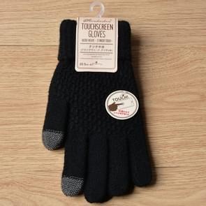 Winter touch screen handschoenen vrouwen mannen warme stretch gebreide wanten imitatie wol Thicken Full Finger handschoenen (zwart)