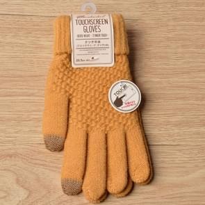 Winter touch screen handschoenen vrouwen mannen warme stretch gebreide wanten imitatie wol Thicken volledige vinger handschoenen (geel)