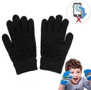 Winter touch screen handschoenen vrouwen mannen warme stretch gebreide wanten imitatie wol Thicken Full Finger handschoenen (Kids Zwart)