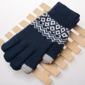 Winter touch screen handschoenen vrouwen mannen warme stretch gebreide wanten imitatie wol Thicken volledige vinger handschoenen (A-marineblauw)