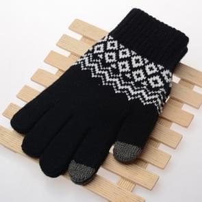 Winter touch screen handschoenen vrouwen mannen warme stretch gebreide wanten imitatie wol Thicken Full Finger handschoenen (A-zwart)